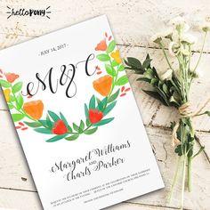 Floral wedding invitation  Printable and customizable