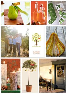 Minted holiday card- this board is inspired by the tree-birds, pears, and wood candles complete this look