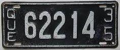 Résultats de recherche d'images pour «quebec license plates 1935»