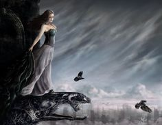A Goddess of love, called the white bossomed one. Her magical symbol is the crow. Dream Fantasy, My Fantasy World, Dark Fantasy, Fantasy Art, Fantasy Fairies, Celtic Goddess, Celtic Mythology, Greek Pantheon, Legends And Myths