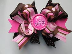 HipBrownPink Striped Stacked Boutique Hairbow by cuckieshairbows, $8.99
