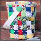 Weave your extra fabric into a basket-seems quite easy and you can make it your own with which oatter you choose :)