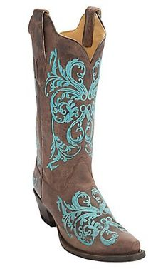 Corral Womens Brown Maddog with Turquoise Embroidery Snip Toe Western Boots