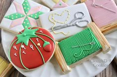 Although I like creating new designs, I like the nostalgia that former designs can bring me. I made sewing-themed cookies several years ago for my mom. I think of her fondly whenever I'm asked to create sewing cookies, especially when I make that tomato pin cushion.❤️ #cookiesofinstagram #customcookies #decoratedcookies #sewing