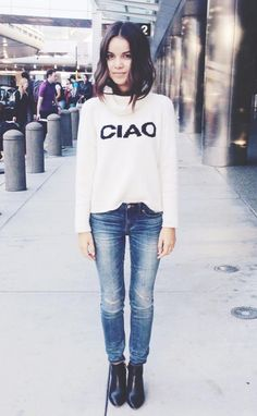 Ciao sweater, simple skinny jeans, booties. Lob haircut. Ingrid Nilsen aka MissGlamorazzi
