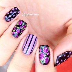 My mind's cloudy from moving in to a new house, and is uninspired at the moment. But, I saw @followthatway 's black and purple floral design, and it was soo gorgeous! I gotta have 'em.