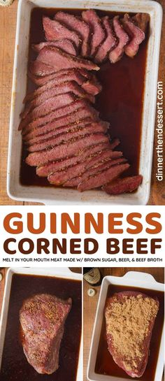 Guinness Corned Beef is a savory-sweet twist on classic corned beef that melts in your mouth, and couldn't be easier using only 3 ingredients and one dish! #dinner #stpatricksday #cornedbeef #guinness #dinnerthendessert Slow Cooker Corned Beef, Corned Beef Brisket, Corned Beef Recipes, Beef Recipes For Dinner, Delicious Dinner Recipes, Slow Cooker Recipes, Holiday Recipes, Yummy Food, Top Recipes