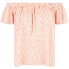 New Look Peach Chevron Jacquard Bardot Neck Top ($7.38) ❤ liked on Polyvore featuring tops, apricot, chevron print tops, peach top, pink top, chevron tops and jacquard top
