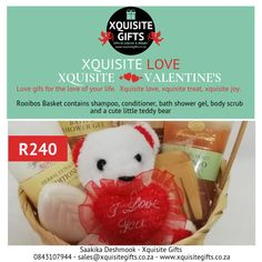 Xquisite Rooibos Gift Basket.  A great present for a lady Valentine!  Whatsapp 0843107944 or email sales@xquisitegifts.co.za #valentinesday2019 #iloveyou #teddybears #secretadmirer #gifts #rooibosgiftset #ladyvalentine #xquisitevalentinesday #xquisitevalentinesdaygift Secret Admirer, Love Your Life, Shower Gel, Gift Baskets, Presents, Teddy Bear, Valentines, Joy, Treats