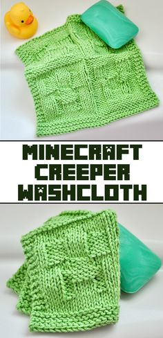 Knit Minecraft Creeper Washcloth #knitting #minecraft #homegoods Minecraft Quilt, Minecraft Pattern, Minecraft Knitting, Creeper Minecraft, Knitted Washcloth Patterns, Knitted Washcloths, Baby Knitting Patterns, Crochet Patterns, Diy Crochet