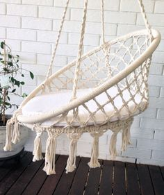 COMING SOON crochet hanging chair bohemian boho chic rustic comfort chair home decoration bohemian home crochet hammock baby room Macrame Hanging Chair, Macrame Chairs, Diy Hanging, Hanging Chairs, Macrame Design, Macrame Art, Macrame Projects, Macrame Thread, Hammock Chair
