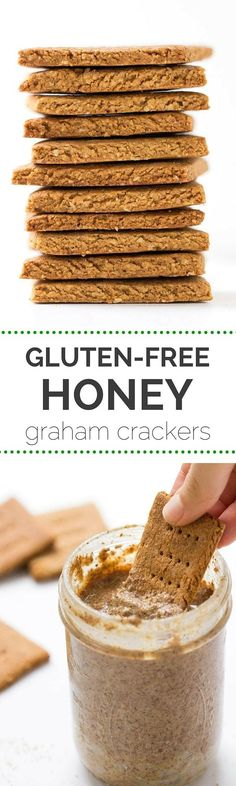 Gluten-Free Honey Graham Crackers - perfect for dunking into a jar of nut butter OR making a tasty s'mores! (Gluten Free Recipes For Dessert)