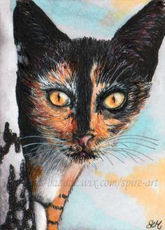ACEO-Original-art-animal-cat-bright-eyes-winter-ice-miniature-drawing-SMcNeill