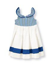 Janie and Jack - Girl 0-12 yrs - Girls Clothes, Kids Clothes, Baby Clothing, Children's Clothing and Girls Clothing at Janie and Jack bby Stripe Collar Dress Lovely dobby stripes and vintage ruffle collar decorate the bodice of our luxurious cotton sateen dress. Pleating, border stripe on the skirt and bow in back finish the dressy look. Full cotton batiste lining provides extra flounce and flair. Coordinating bloomer completes the dressy ensemble (sizes up to 18-24 months only). Buttons in…