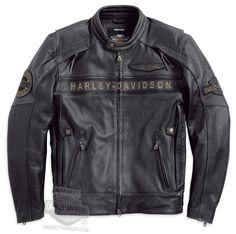 Harley-Davidson® Mens Spencer Reflective Distressed Black Leather Jacket