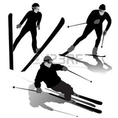 Illustration of Silhouette set of different winter sports skiing part 1 vector art, clipart and stock vectors. Winter Sports, Silhouettes, Vector Art, Skiing, Stock Photos, Illustration, Inspiration, Image, Ski