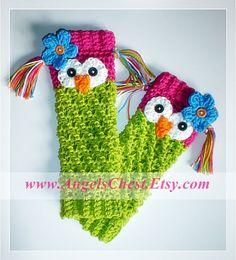 PDF Crochet Pattern Owl Leg Warmers or Leggings by AngelsChest, $6.99