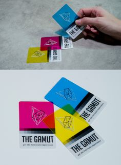 Letterpress -- THE GAMUT Business Cards  THE GAMUT represents the full scale experience: print to web, 2D to 3D, CMYK to RGB. As certified color lovers, we wanted to create a business card that reflected playfulness, interaction and the vibrancy found in the basic color palettes. Printed on transparent plastic, these CMYK colored cards can be overlapped to create a whole new spectrum... the RGB! Print + web.