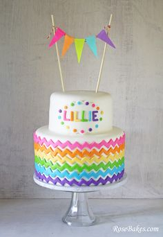 Chevron Rainbow Birthday Cake with Bunting/Flags on top! Click over for more pics and the matching smash cake! this cake! Chevron Birthday Cakes, Chevron Cakes, Birthday Cake Smash, Colorful Birthday Cake, Cute Cakes, Pretty Cakes, Beautiful Cakes, Sweet Cakes, Rainbow Parties