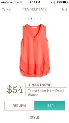 Stitch Fix 41Hawthorn Tadea Sheer Hem Detail Blouse