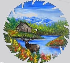 Hand Painted Saw Blade Art Mountain Summer ELK and Log Cabin