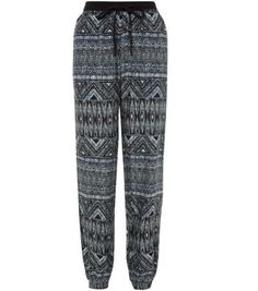 Black Aztec Print Slim Leg Trousers ~ Nice for lounging around! xx