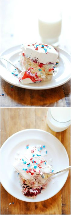 Red, White, and Blue Poke Cake | www.somethingswanky.com