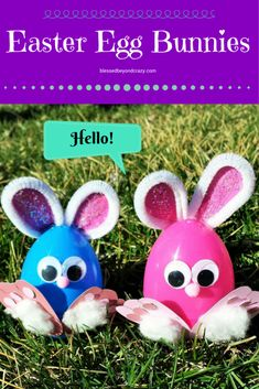 Easter Egg Bunnies. Super adorable and easy to make! All you need is a hot glue gun and some standard craft supplies. Kids would love finding these full of candy!