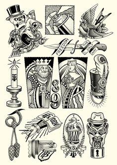 The bullshitters diary on behance Flash Art Tattoos, Tattoos 3d, Tattoo Flash Sheet, Black Tattoos, Body Art Tattoos, Small Tattoos, Mini Tattoos, Graffiti, Tattoo Sketches