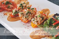 RECIPE: Fancy Cauliflower Stuffed Mini Peppers + Salad