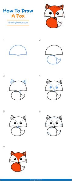 How to Draw a Fox - Step by Step Easy Drawing Guides - Drawing Howtos Easy Doodles Drawings, Easy Doodle Art, Easy Cartoon Drawings, Easy Drawings For Kids, Cute Kawaii Drawings, Fox Drawing Easy, Easy Drawing Steps, How To Draw Steps, Drawing Guide