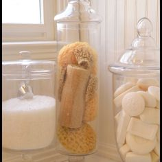 For master bath. Love these bathroom decorations. Jar of soap, jar of bath sponges, jar of bath salts (I'd replace the bath salts with something I actually use in the bathroom)