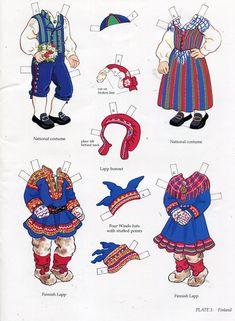 Kansallispukuja, paperinuket - book - libro - scandinavian girl and boy - paper doll - finland