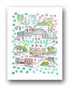 Sydney Map Print by Evelyn Henson