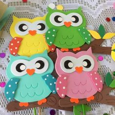 cute set 4 pieces owl handmade in fommy Foam Sheet Crafts, Foam Crafts, Decor Crafts, Diy And Crafts, Crafts For Kids, Paper Crafts, Valentine's Cards For Kids, Art For Kids, Preschool Door Decorations