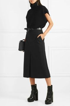 Black stretch-crepe Concealed zip fastening along back polyester, elastane; lining: silk Dry clean Made in Italy Jil Sander, Skirts With Boots, Skirt Boots, Brown Earrings, Crepe Skirts, Black Midi Skirt, Wedding Looks, All Black, Designer Dresses