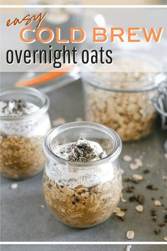 Quaker Oats Recipes: No-Cook Cold Brew Overnight Oats Best Breakfast Recipes, Make Ahead Breakfast, Breakfast Bowls, Brunch Recipes, Breakfast Basket, Vegan Breakfast, Good Food, Yummy Food, Tasty