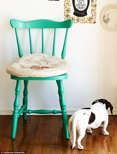 A bright painted chair adds color without taking up space in a kitchen.