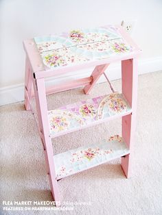 20 Incredible Furniture Makeovers - wow pink flowery vintage ladder!