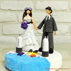 Skin scuba diving custom wedding cake topper by annacrafts on Etsy, $230.00