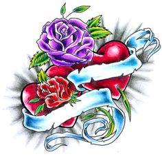 Purple Rose - Red Heart Tattoo.    Hmmm.. it's awfully pretty!