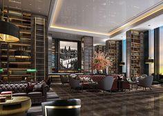 DB Kim Luxury Restaurant, Restaurant Lounge, Lobby Bar, Ceiling Design, Cool Designs, Design Studios, Lounges, 3d Rendering, Interior Design