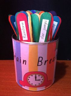 *** LOVE THIS IDEA~ I will use it to put the students favorite MOVEMENT activities~ 1 can for k-1, one for 2-3 and one for 4-5*** Use in the music classroom.  Put different movement vocabulary, locomotor and non-locomotor.