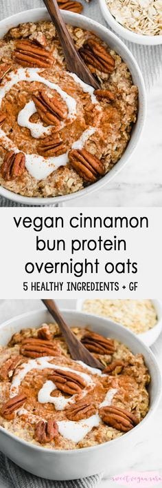 Recipes Breakfast Overnight Oats Vegan cinnamon bun protein overnight oats are a sweet and satisfying breakfast that's simple to prep with just 5 healthy ingredients! Clean Dinner Recipes, Clean Eating Dinner, Vegan Breakfast Recipes, Raw Food Recipes, Healthy Recipes, Free Recipes, Healthy Treats, Healthy Food, Healthy Eating