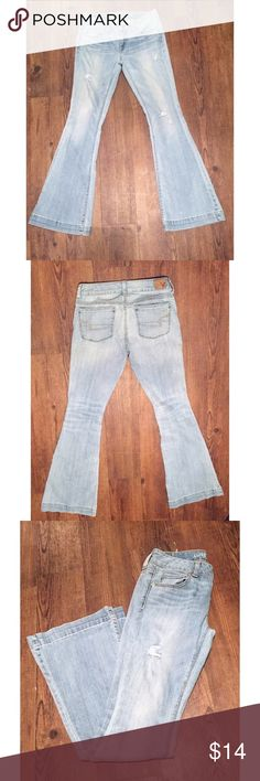 "American Eagle Distressed Jeans Light wash, distressed, skinny flare leg, size 4, semi high wasted fasten just below the belly button, 32"" inseam American Eagle Outfitters Jeans Flare & Wide Leg"