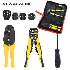 NEWACALOX Wire Stripper Multifunction Self-adjustable Terminal Tool Kit Crimping Plier Multi Wire Crimper Screwdiver Pliers Set. Crimping, Cable Wire, Ali Express, Tool Kit, Golf Bags, Hand Tools, Stuff To Buy, February 3, Drill