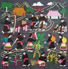 Hmong Embroidered Story Cloth (Paj ntaub)