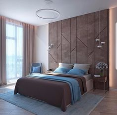 A modern bedroom design in brown and blue with grey shades and beautiful suspension lamps