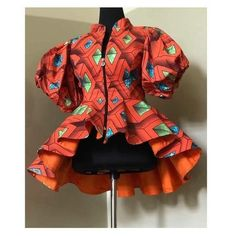African print peplum top, available in different patterns and colors African Dresses For Kids, Latest African Fashion Dresses, African Dresses For Women, African Lace Dresses, African Attire, Ankara Fashion, Fashion Outfits, African Print Peplum Top, African Print Fashion