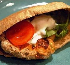"""Chicken Pita Burger: """"I loved this burger! I used turkey because that's what I had, and I didn't need to use the breadcrumbs. Served with lots of lettuce, tomatoes and mayo."""" -najwa"""